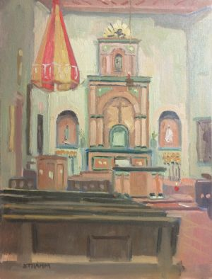 <i>After Morning Mass</i><BR>Mission de Alcalá, San Diego<BR>12x16 oil - $1200