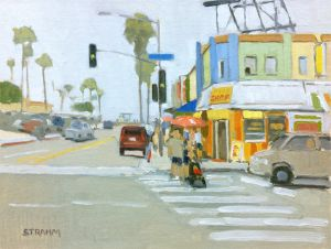 <i>At Mission Bay and Mission</i><BR>Mission Beach, San Diego<BR>12x16 oil - $1200