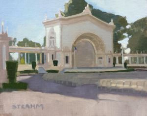 <i>Organ Pavilion</i><BR>Balboa Park, San Diego<BR>8x10 oil - $600