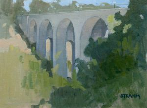 <i>Study of Cabrillo Bridge</i><BR>Balboa Park, San Diego<BR>12x16 oil - $1200
