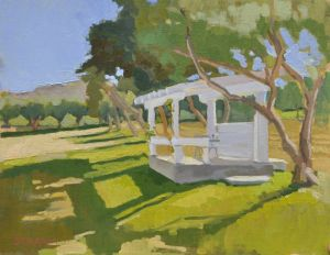 <i>Wine Tasting at Bernardo Winery</i><BR>Rancho Bernardo, Calif.<BR>14x18 oil - $1600