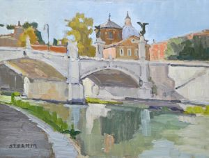 <i>Tiber River</i><BR>Rome, Italy<BR>12x16 oil - $1400