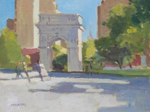 <i>Washington Square Park</i><BR>New York City, New York<BR>12x16 oil - $1400