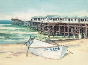 Crystal Pier with Boat<BR> Pacific Beach, San Diego