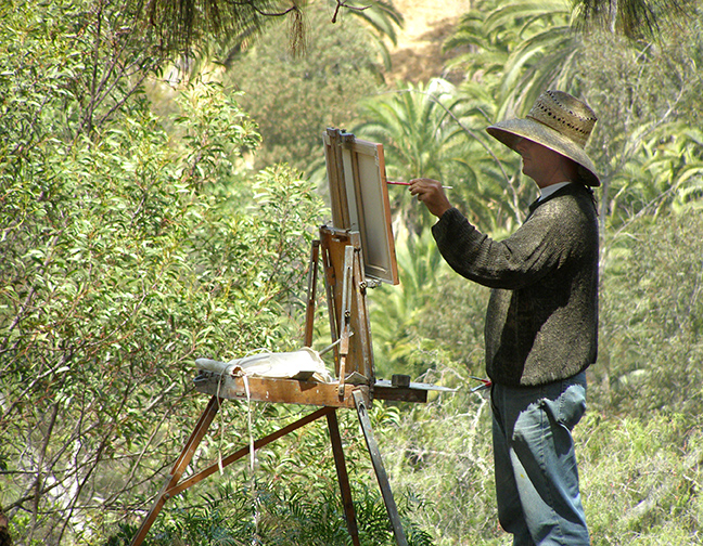 Paul painting in Balboa Park