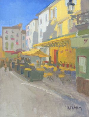 <i>Cafe Van Gogh</i><BR>Arls, France<BR>12x16 oil - $1200
