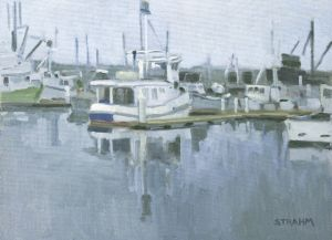 <i>Houseboat on the Harbor</i><BR>Embarcadero, San Diego<BR>12x16 oil - $1200