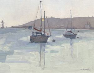 <i>Moored in the Bay</i><BR>San Diego, California<BR>11x14 Oil - $1000