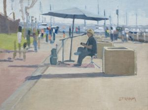 <i>Rock n Ron</i><BR>Embarcadero, San Diego<BR>12x16 oil - $1200