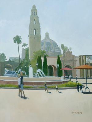 <i>Sunny San Diego</i><BR>Balboa Park, San Diego<BR>48x36 Oil - $5500