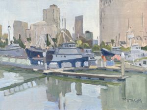 <i>Tuna Harbor Reflections</i><BR>San Diego, California<BR>12x16 oil - $1200