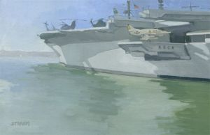 <i>Aircraft on the Midway</i><BR>San Diego, California<BR>12x19 Oil - $1200