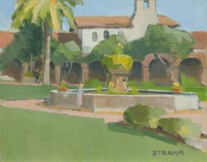 <i>Fountain at the Mission</i><BR>San Juan Capistrano, Calif.<BR>11x14 oil - $750