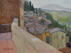<i>Morning Light</i><BR>Montepulciano, Italy<BR>12x16 oil - $1400