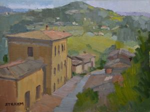 <i>Evening Light</i><BR>Montepulciano, Italy<BR>12x16 oil - $1400