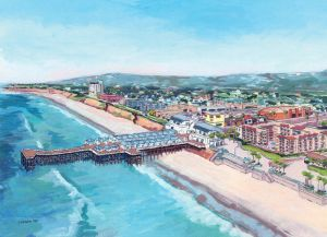 Aerial View of Crystal Pier<BR> Pacific Beach, San Diego
