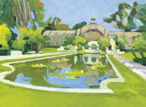Reflection Pond Toward the Botanical Building<BR> Balboa Park, San Diego